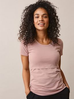 BOOB DESIGN Top with double function for pregnancy and nursing. Rounded neck and short sleeves. An essential basic garment in a nursing mother's wardrobe.