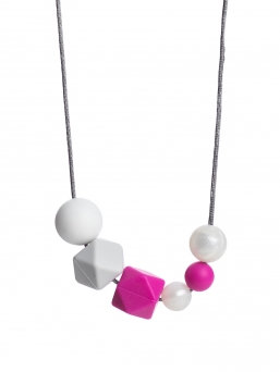 Nursing Necklace (pearl white-lightgray-fuchsia)