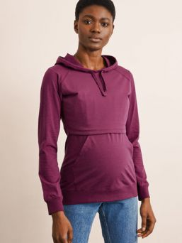 Boob Design B-Warmer nursing hoodie .The front overlap has a supple fleece lining to keep your bosom warm and snug.