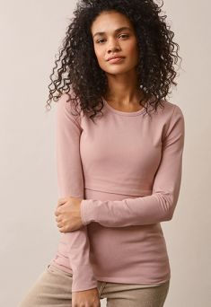 BOOB DESIGN Top mauve with double function for pregnancy and nursing. Rounded neck and long sleeves.