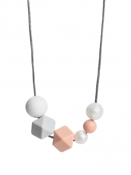 Nursing Necklace (pearl white-lightgrey-peach)