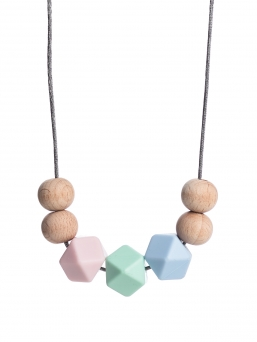 Nursing Necklace (nature rosa-mint-lightblue)