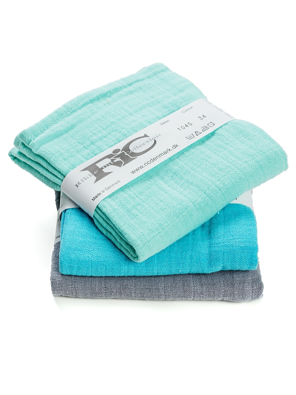 RIC Cotton gauzes 3-pack (turquoise-grey)