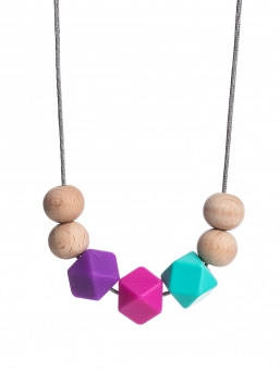 Nursing Necklace (nature purple-fuchsia-turquoise)