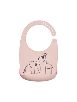 Practical Done By Deer waterproof silicone pocket bib with Deer friends Raffi and Elphee. The silicone bib is easy to wipe clean or wash in the dishwasher.