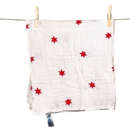 SNUTTEN Burp cloth 3+3pcs (red stars)