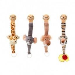 Teddykompaniet pacifier holder. An adorable solution to the eternal problem of dummies falling ton the  ground and gettig dirty! Put the plastic ring over and around the top  of the dummy and clip the dummy holder on to baby's clothes. Works with  most standard dummies on the market.