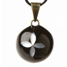BOLA - black with pearl flower