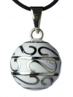 Beautiful handcrafted musical maternity chime for mum-to-be to wear as necklace, with the chime resting low on her belly. A soft sound is made when she walks or moves.