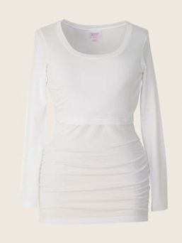 BOOB Maternity and Nursing longsleeve Ruched Top (white)