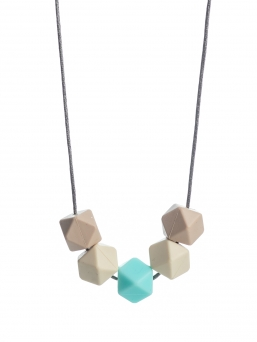 Nursing Necklace (beige-ivory-light turquoise)