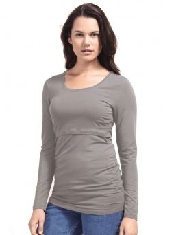 Boob Design ruched top with doubel function for pregnacy and nursing. Round neck and short sleeves. Ruched sides, front and back, allow a beautiful fit across the belly, both with or without a bump.