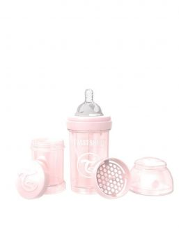 Twistshake pearl pink baby bottle is perfect to use in combination with regular breastfeeding. Every Twistshake contains a practical container as well as a mixing net.