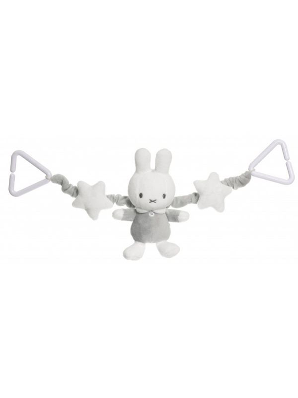 Teddykompaniet Miffy Pram Toy is designed to go across the hood of the pram to hang in front of baby.