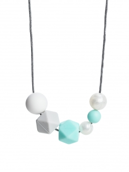 Nursing Necklace (pearl white-lightgrey-light turquoise)