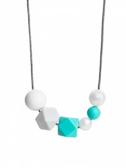 Nursing Necklace (pearl white-lightgrey-turquoise)