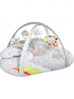 Every cloud has a silver lining and this dreamy baby activity gym is no exception! Offering hours of plush playtime, it features a soft color palette to complement modern decor along with pops of bright colors to stimulate baby's sight. Five celestial-themed hanging toys will engage baby with lights, music and other stimuli while the cushy mat offers ultimate, cloud-like comfort. When it comes to baby's enjoyment, the sky's the limit!