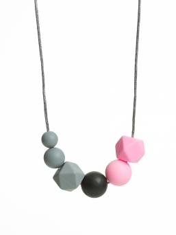 Nursing Necklace (pearl grey-black-pink)