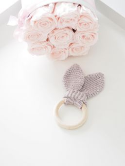 KoukussaDesign's beautiful bunnys ear teether, baby can chew it and wonder that lovely toy with smallest fingers. 100% cotton crocheted products are handmade in Turku, Finland. The cotton that is used in the products is Oeko-Tex® certified high quality material. The product is safe, it is made according to toy standard and is CE-marked.