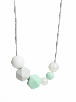 Nursing Necklace (pearl white-lightgrey-mint)