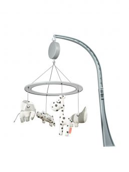Musical mirror mobile, Sleepy, grey. Beautiful and light-colored Done By Deer mobile for baby´s crib. Mobile plays a soothing melody and is easy to attach to the baby's crib.