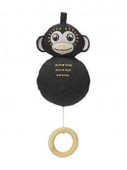 Elodie Details soft monkey musical mobile with beautiful melody. Adorable denim monkey with a drawstring for a beautiful melody.