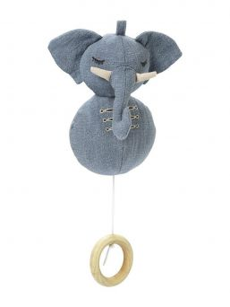 Elodie Details soft elephant musical mobile with beautiful melody. Adorable denim elephan with a drawstring for a beautiful melody.