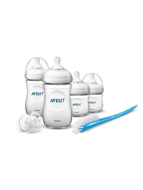 AVENT Natural Newborn Starter Set is a handy collection including 4 Natural bottles (2x 4oz and 2x 9oz), a bottle and nipple brush, and a white translucent pacifier 0-6 months.