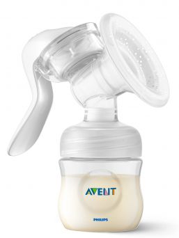 AVENT Natural Manual breast pump has a unique design, so your milk flows directly from your breast into the bottle, even when you are sitting up straight. This means you can sit more comfortably when pumping. Cleaning is easy, thanks to the small number of separate parts. All parts are dishwasher proof.