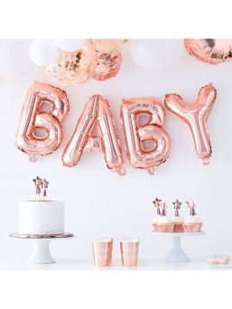 Ginger Ray foil balloon Baby, rosegold
