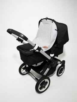 Baby Wallaby´s pram curtain protects sleeping baby from wind and too bright light!