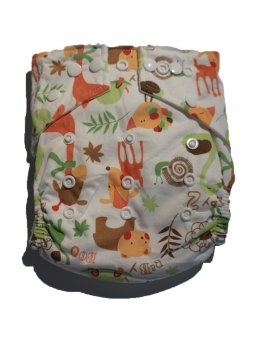 BABYLAND cloth diaper + microterry insert (wood animal)