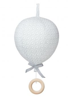 Adorable Cam Cam Copenhagen music mobile for the nursery. The mobile is shaped as a balloon with a little bow in cotton tape. Pull the wooden ring, and the music starts.