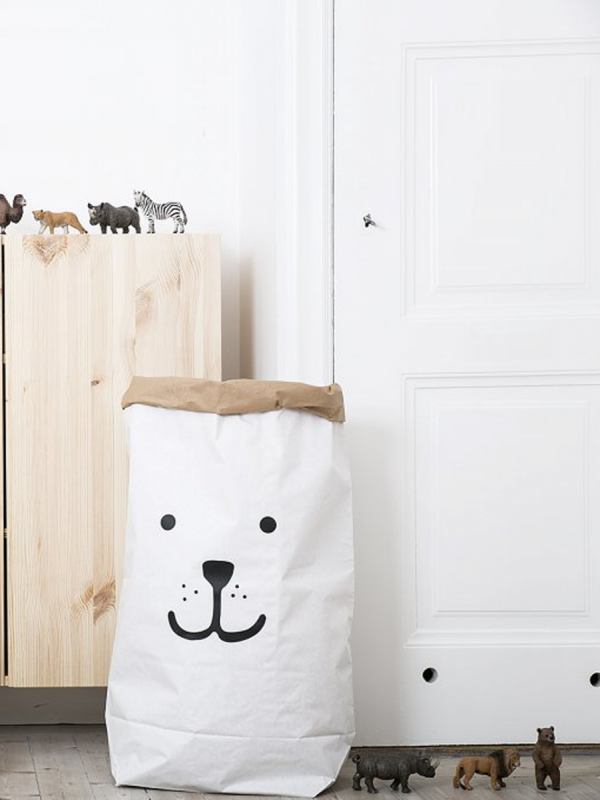Durable and reusable many times over. Once placed and arranged into shape, the paper bag becomes a design object in any kids room.