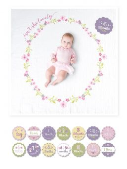The perfect way to capture the growing babies milestones with this cute milestone blanket. Blanket measures 1m x 1m and 7 double-sided cards with 14 milestones.