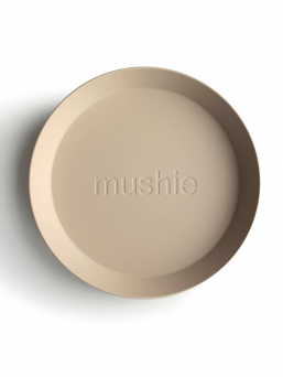 Mushie child polypropylene plastic plates, 2-pack. The plates can be heated in the microwave and washed in the dishwasher. Beautiful, easy and effortless dining.