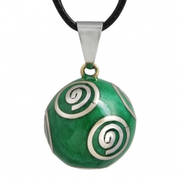 BOLA - green with silver spirals