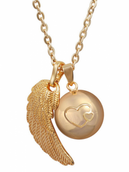 BOLA - gold double heart with wing