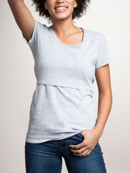 BOOB Design. Top with double function for pregnancy and nursing. Rounded neck and short sleeves. An essential basic garment in a nursing mother's wardrobe.