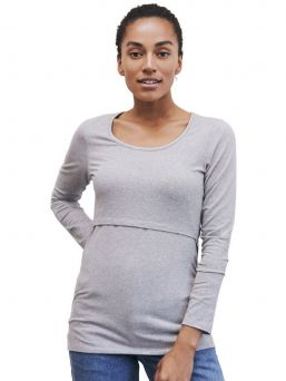 Boob Design Top with double function for pregnancy and nursing. Rounded neck and long sleeves.