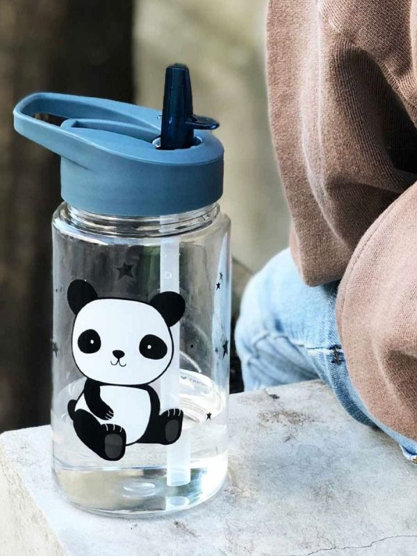 A Little Lovely Companys  sturdy drink bottle has a handy spout and a straw that can be replaced for extra hygiene.