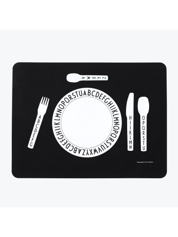 Kids placemat - eat and learn to set the table at the same time. Featuring 'AJ Vintage ABC' typography designed by Arne Jacobsen in 1937.