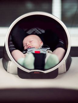 Diono Easy View is a convenient mirror for attaching to the back seat of a car. You can see through your rearview mirror that the child is all well in the car seat.