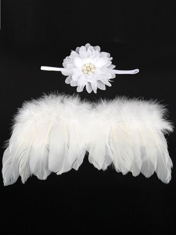 Baby angel wings and beautiful headband with beading. Take cute baby pictures with angel wings.