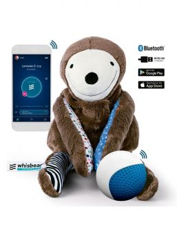 A super sweet and soft E-zzy sloth who helps the child to calm down for day and night sleep with noise function. The Sloth is not just any noise device, but also includes a child's sleep monitor that can be controlled by an application that can be downloaded to a smartphone. The perfect saver for everyday baby dreams! If your baby have little trouble falling asleep and waking up often, try E-zzy Sloth Magic!