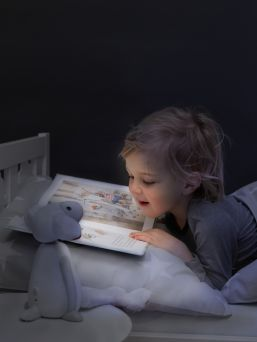 FIN is a reading light and nightlight all in one.FIN is wireless and does not overheat, so it is perfectly safe for him to take to bed.