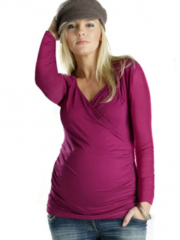 Maternity and Nursing Long Sleeve Cross over top (rasberry)