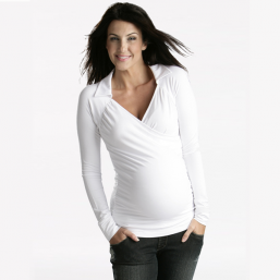 Maternity and nursing shirt Crossover (white)