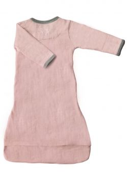Merino Kids Cocooi Gown - Crossover neckline so fabric stays clear of face. Mittens prevent scratching.