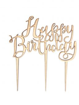 Happy Birthday! wooden cake topper